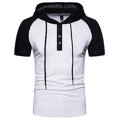 VENMO Camisetas Hombre Verano,Ropa Deportivas Hombre,Sudaderas con Capucha Casual Hombre,Camiseta