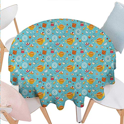 Tea Party Dinner Picnic Round Table Cloth Drawing Style Lovely Elements Floral Motifs and Cute Birds Muffins Latte Waterproof Round Table Cover for Kitchen D60 Sky Blue - Table Latte Runner Cafe