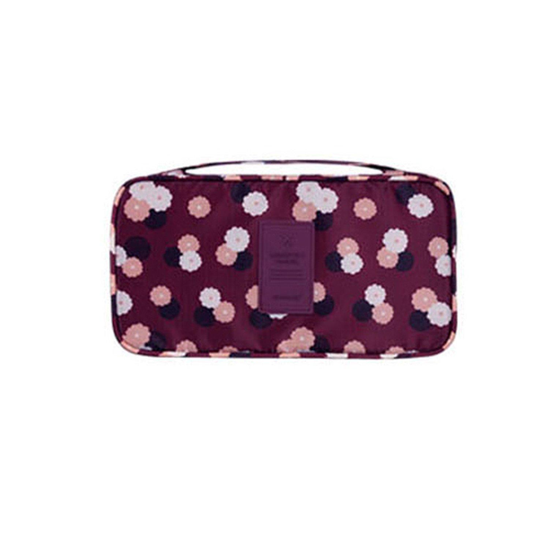 Beverly Stewart Casual Multy Colors Travel Bra Bags Nylon Waterproof Women Business Necessary Underware Packing Organizers Burgundy Flower