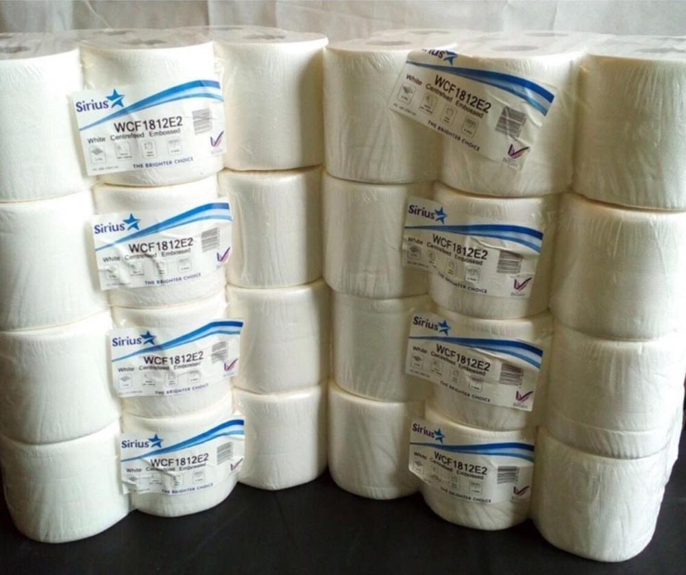 White Centrefeed Embossed 2ply Wiper Paper Towel (8 packs of 6 rolls = 48 rolls) Star Tissue U.K. WCF1812E2