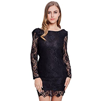 Fitibest Sexy Abito Lungo Schiena Scoperta in Pizzo Abbigliamento Manica  per le Donne (XXL e7ae71a4753