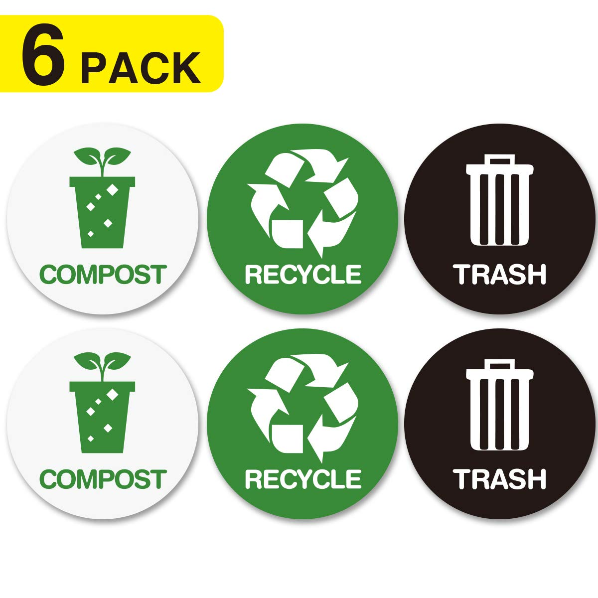 Recycle and trash bin logo stickers recycle sticker trash compost can organize trash for metal or plastic garbage cans containers and bins indoor