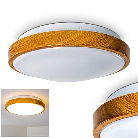 Bad Deckenleuchte in Holz-Optik - Deckenlicht für Badezimmer mit warmweißem  Licht für gemütliche Atmosphäre - Badlampe Sora Wood mit modernem ...
