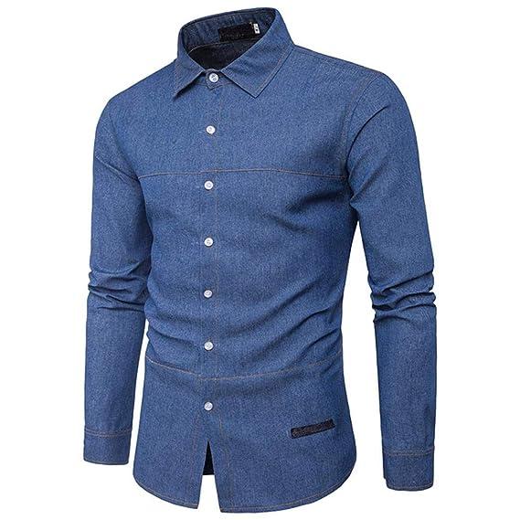 Btruely Herren_camisetas Hombres Camisetas, Retro Denim Camisa Blusa de Vaquero Moda Slim Thin Tops Largos Mezcla de Algodón: Amazon.es: Ropa y accesorios