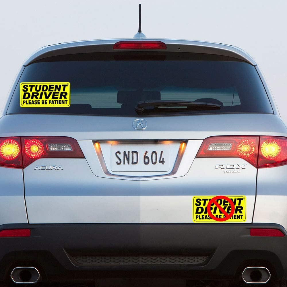 8 inch Length Not for Bumper trust4care Set of 4 Student Driver Please Be Patient Stickers Reflective Sign Stickers for Car Window Glass