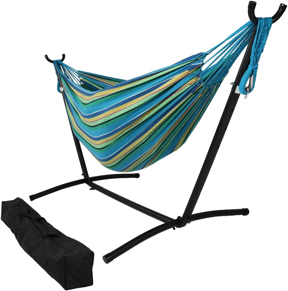 Sunnydaze 9 ft Steel Hammock Stand with Double Brazilian Hammock Combo - Sea Grass