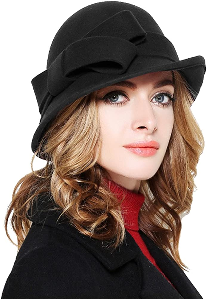 Bellady Women Solid Color Winter Hat 100 percent Wool Cloche Bucket with Bow Accent, Black, One Size at  Women's Clothing store
