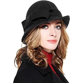 3 Bellady Women Solid Color Winter Hat 100% Wool Cloche Bucket with Bow  Accent 3e3a836223c6