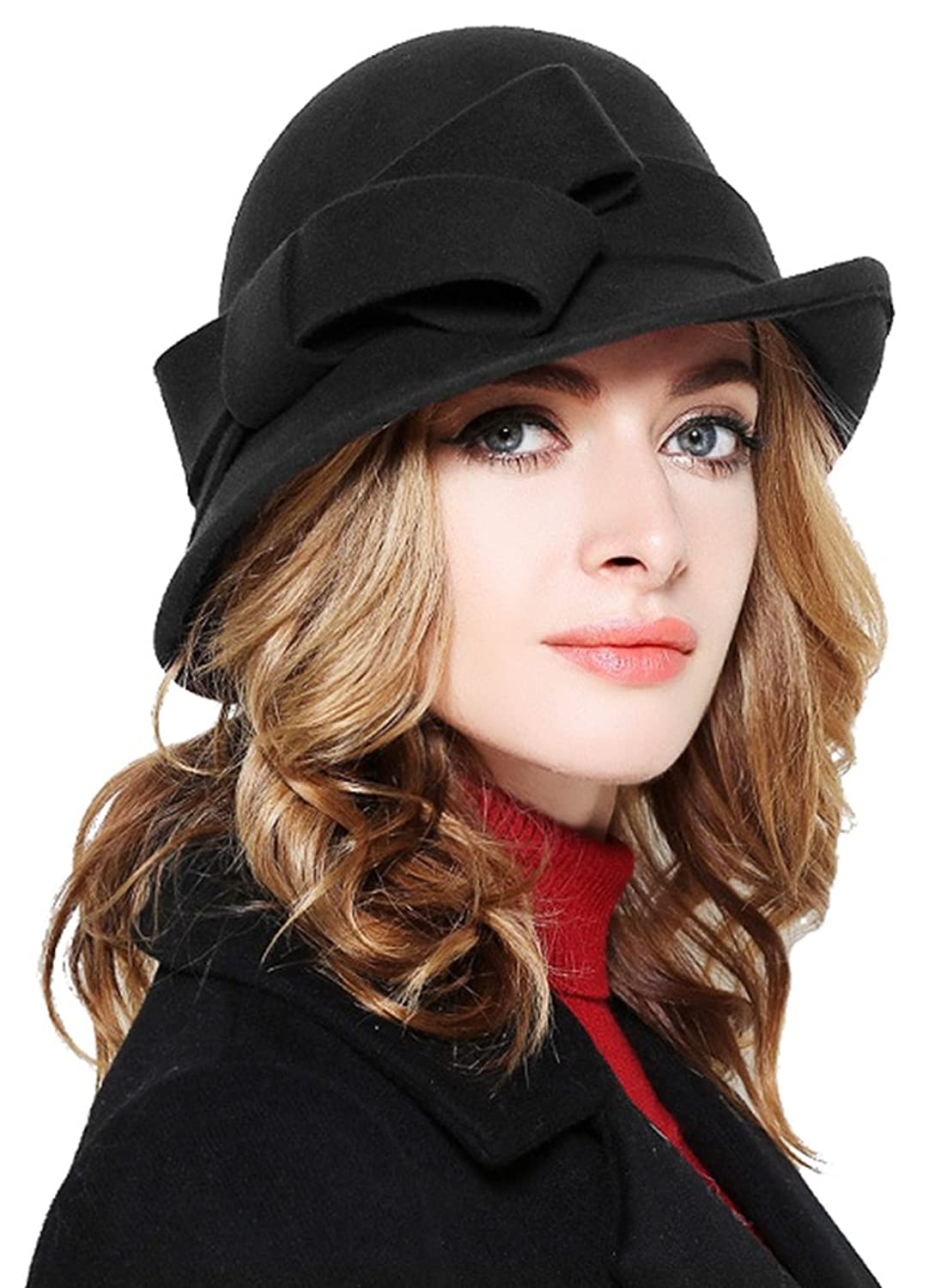 1930s Style Hats | Buy 30s Ladies Hats Bellady Women Solid Color Winter Hat 100% Wool Cloche Bucket with Bow Accent $21.99 AT vintagedancer.com