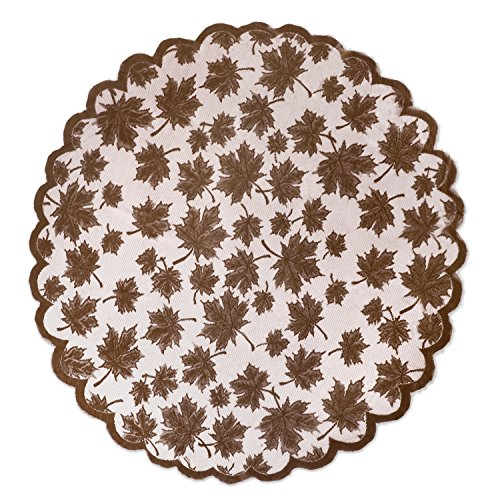 DII 40'' Round Lace Table topper, Maple Leaf Brown - Perfect for Fall, Thanksgiving, Catering Events, Dinner Parties, Special Occasions or Seasonal Décor by DII