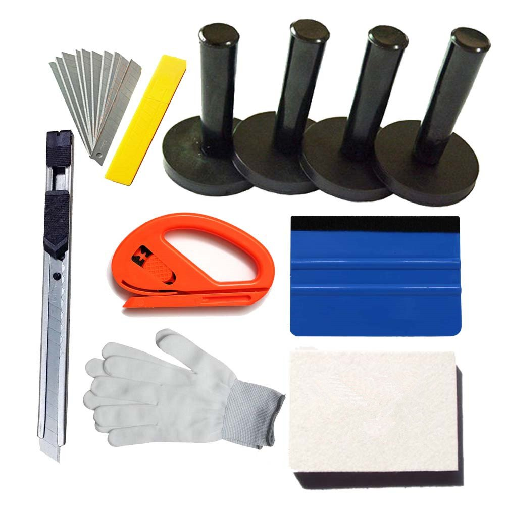 Car Wrap Vinyl Tools Kit Felt Squeegee Razor Cutter Gloves 4 Magnet holders