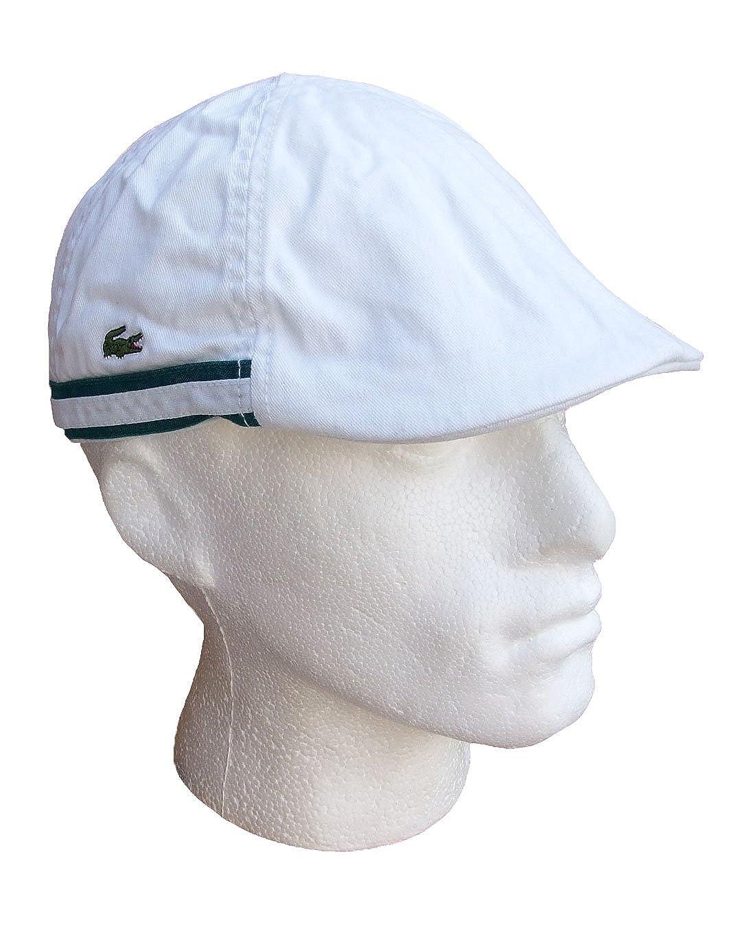 e3041a664 Lacoste Golf Flat Cap Cotton White RK1904 Mens (Large): Amazon.co.uk ...