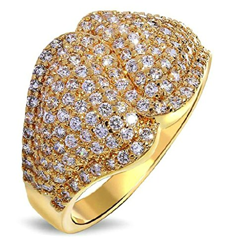Gnzoe Jewelry, Gold Plated Womens Wedding Ring Cubic Zirconia Engagement Ring Band