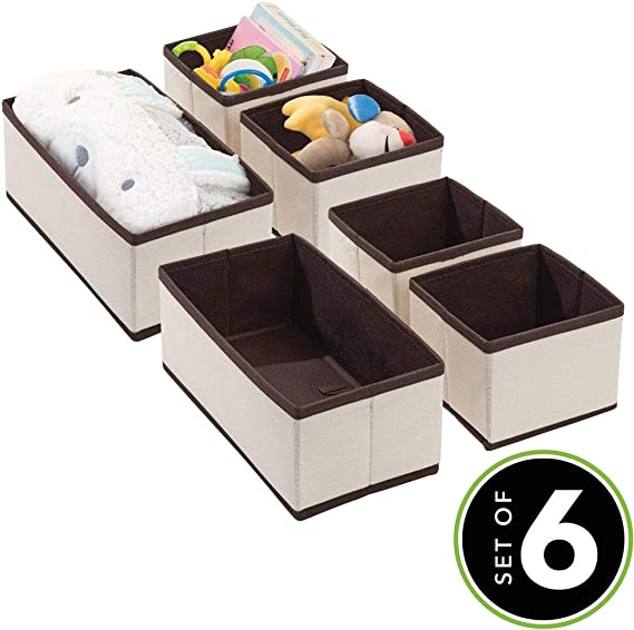 cremefarben//braun mDesign 3er-Set Aufbewahrungsbox Organizer in 2 Gr/ö/ßen f/ürs Kinderzimmer Aufbewahrungssystem aus Kunstfaser mit ansprechendem Design