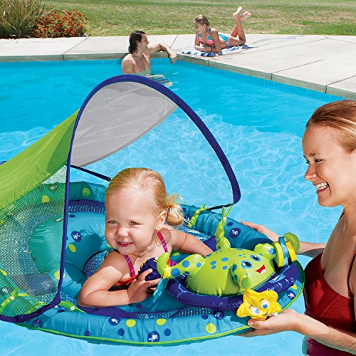 61fp5hyHNsL - SwimWays Baby Spring Float Activity Center with Canopy -  Blue/Green Octopus