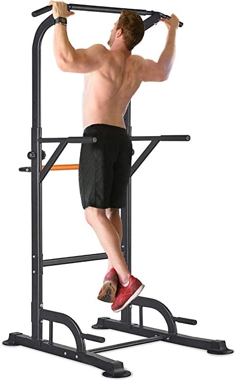 Amazon.com : RELIFE REBUILD YOUR LIFE Power Tower Pull Up Dip Station for  Home Gym Adjustable Height Strength Training Workout Equipment : Sports &  Outdoors
