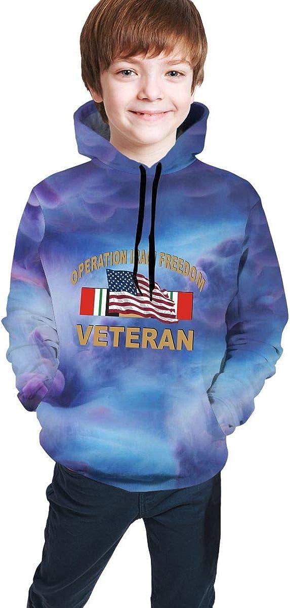 Iraq Veteran with American Flag Operation Iraqi Freedom Hip-Hop Sweatshirts Pullover Winter Autumn Tops for Teen Girls Boys