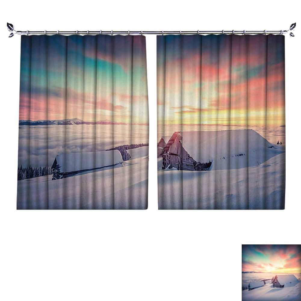 2 Panels Curtain with Hook Sunrise on Mountain Valley with Old House Nordic Misty Sky View Coral White Can Block Sunlight,W72 xL63