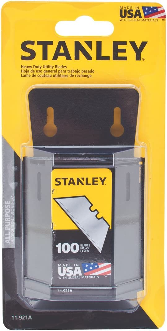 100pk Stanley Trimming Blades Heavy Duty Utility Window With Dispenser