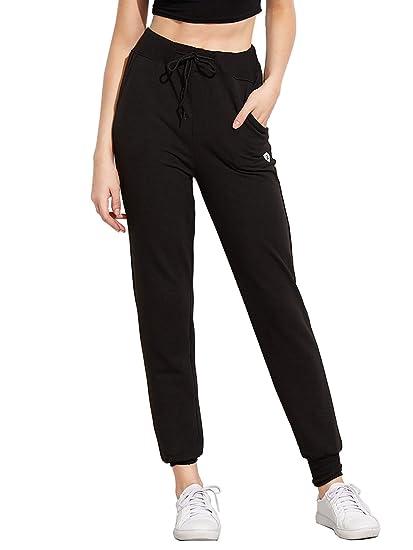 36b7c1b14321e9 SweatyRocks Women's Sweatpants Yoga Workout Athletic Joggers Pants with  Pockets (Small, Navy)
