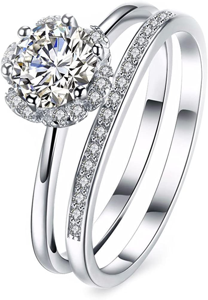Amazon Com T Ring Fashion Round Sterling Silver Zircon Finger