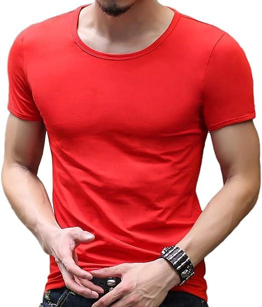NDHSH Camisetas para Hombre Cuello Redondo Manga Corta Lycra ...