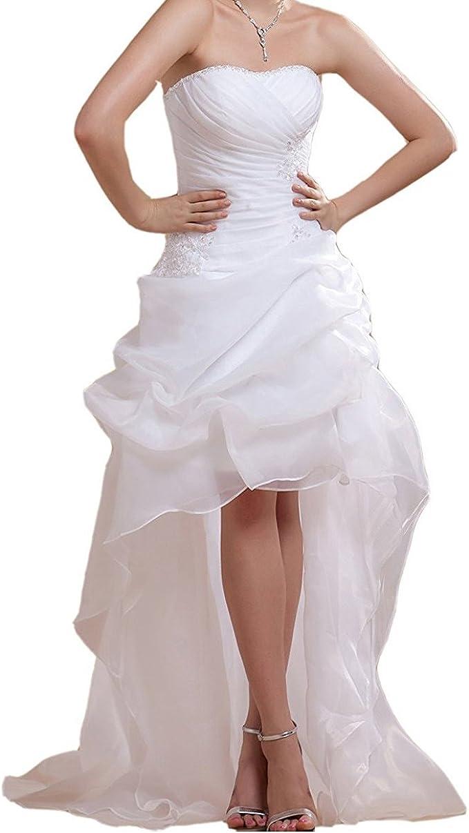 EVANKOU Damen Brautkleider Vorne Kurz Hinten Lang Organza Hochzeitskleider