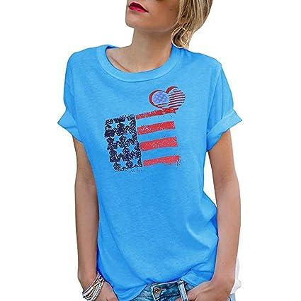 e1d894f0c Franterd Women's American Flag Print Tank Tops Short Sleeve Patriotic  Stripes Star July 4th Short Sleeve