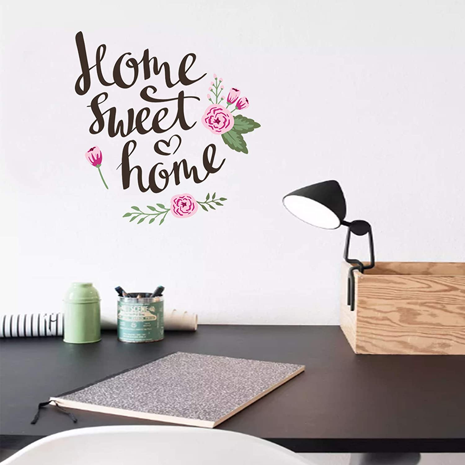 LASZOLA Home Sweet Home Quote with Watercolor Flower Wall Decals, Removable DIY Wall Sticker Peel and Stick Vinyl Home Decor Art Murals Paper Decoration for Living Room Bedroom (Home)