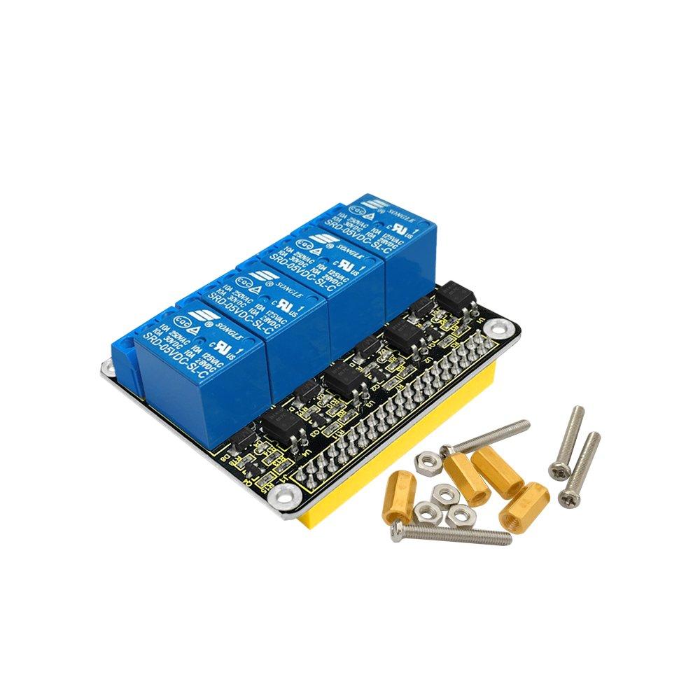 Keyestudio 5V DC\AC 4-Channel Relay Shield Module Expansion Board for Raspberry Pi A+//B+//Pi 2 Model B//Pi 3 Model B