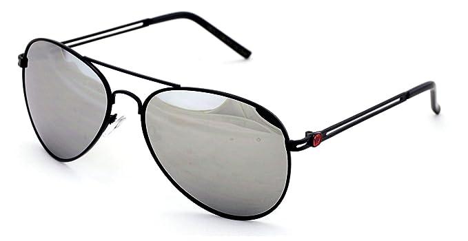 69330127f Amazon.com: Triple Crown Aviator Sunglasses Silver Mirror Lens Black ...