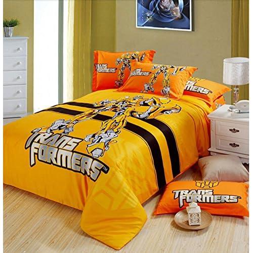 Nice Judy Dre am Home Textile Cartoon Transformers Children Bedding Set Cartoon Cotton Duvet Cover Sets for Boy Flat Sheets Qulit Cover Set 4-piece (1 Duvet Cover, 1 Flat Sheet, 2 Pillow Cases) hot sale