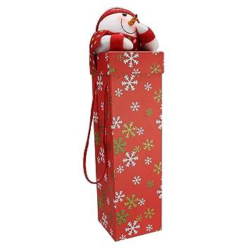 regalo del paquete para vino de peluche muñeco de nieve, Ø105 X 460 Mm,