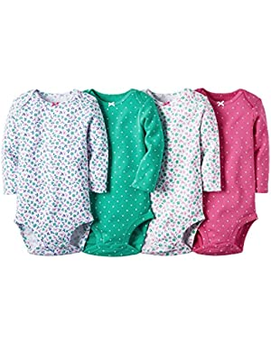 Baby Girls 4 Pack Long Sleeve Bodysuits (Dots Flowers)