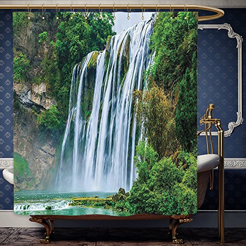 Wanranhome Custom-made shower curtain Waterfall Decor Huge Waterfall Landscape surrounded by Green Botanic Plants in Nature Green and White For Bathroom Decoration 36 x 78 inches