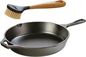 Lodge Seasoned Cast Iron Skillet with Scrub Brush- 10.25 inches Cast Iron Frying Pan With 10 inch Bristle Brush