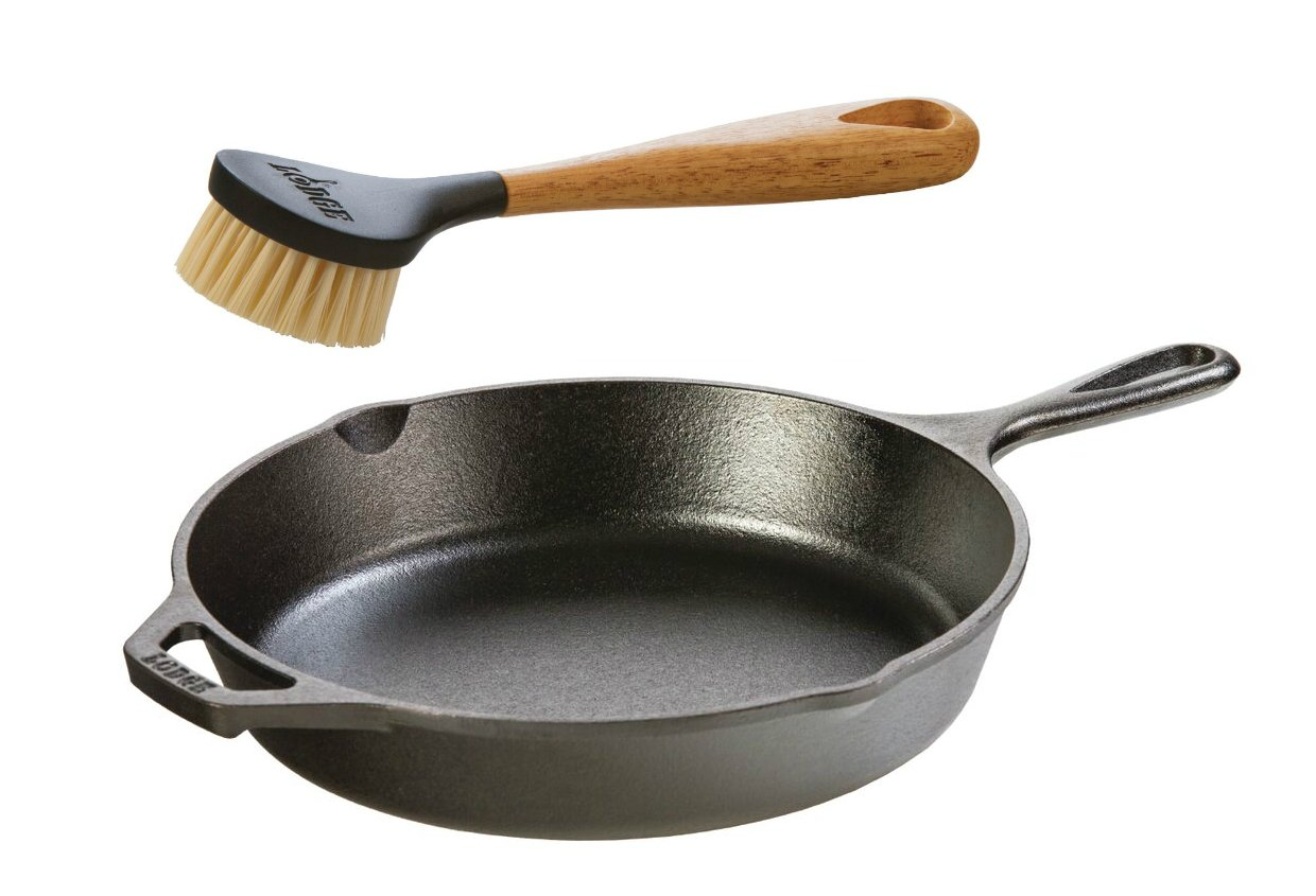 "Lodge Seasoned Cast Iron Skillet w/Scrub Brush- 10.25"" Cast Iron Frying Pan With 10"" Bristle Brush"
