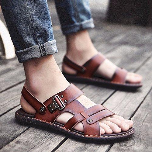 sandali Uomini Il nuovo estate Uomini scarpa Antiscivolo indossabile Doppio uso Spiaggia scarpa Uomini infradito sandali tendenza ,Marrone B,US=9,UK=8.5,EU=42 2/3,CN=44
