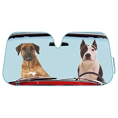 2 Dogs Driving Front Windshield Sun Shade - Accordion Folding Auto Sunshade for Car Truck SUV - Blocks UV Rays Sun Visor Protector - Keeps Your Vehicle Cool - 58 x 28 Inch: Automotive
