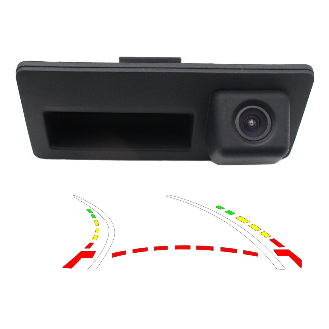 Vehicle Backup Camera with Dynamic Intelligent Trajectory Moving Guide Line Work With Audi A4L A5 A3 Q3 Q5 RS6 for VW Passat Tiguan Jetta Sharan Touareg Lavida Skoda Car Rear View Trunk Handle Camera GreenYi GreenYi-32