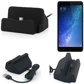 KS-Trade Dock USB para el Xiaomi Mi MAX 3, Negro | estación de Carga Base Cargador de Escritorio Estacion Compacto y Discreto. Type C Docking Station