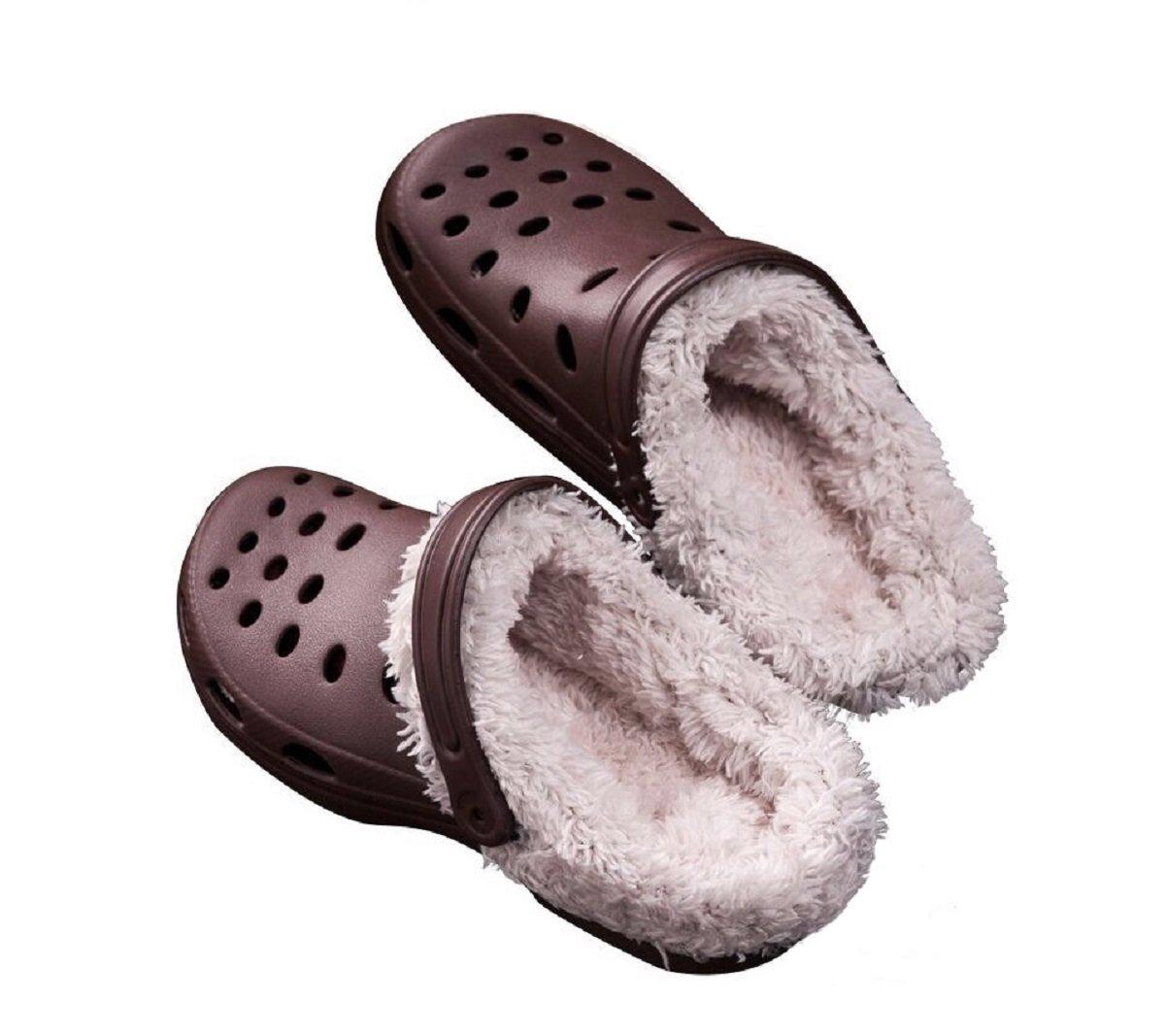 Rainoop Women Garden Shoes Fashion Autumn Winter Warm Slippers Breathable mesh Faux Fur Slip On Adjustable Straps Indoor Outdoor Brown 37