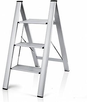 Delxo Escalera de aluminio ligero 2 en 1 con 3 peldaños y diseño de conexión invisible con escalera antideslizante resistente y con pedal ancho para fotografía, hogar y pintura de 90 kg: