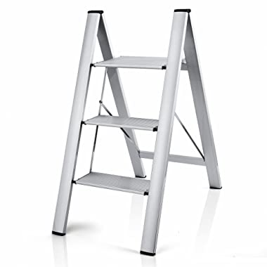 Delxo 2 in 1 Lightweight Aluminum 3 Step Ladder Stylish Invisible Connection Design Step Ladder with Anti-Slip Sturdy and Wide Pedal Ladder for Photography,Household and Painting 330lbs 3-Feet