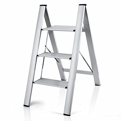 Admirable Delxo 2 In 1 Lightweight Aluminum 3 Step Ladder Stylish Invisible Connection Design Step Ladder With Anti Slip Sturdy And Wide Pedal Ladder For Forskolin Free Trial Chair Design Images Forskolin Free Trialorg