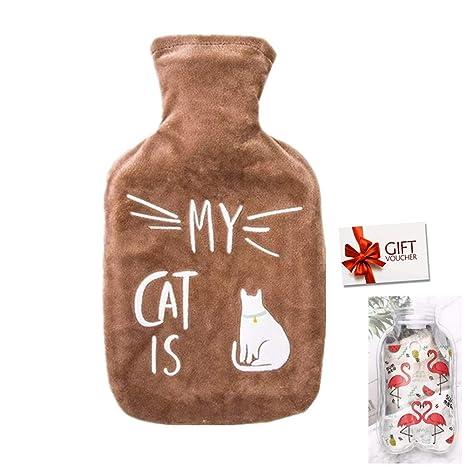 Bolsa de Agua Caliente con Funda 1L Hot Water Bag Bottle Goma Natural Peluche Super Suave