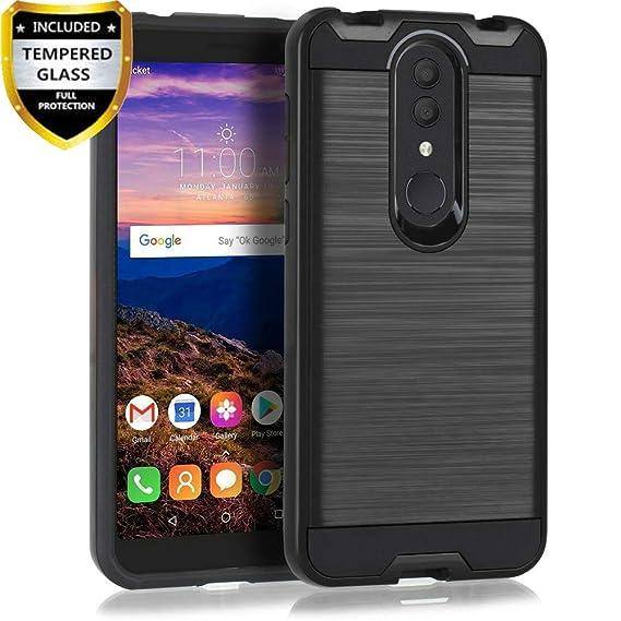 Alcatel Onyx Case, Alcatel 1x 2019 Case, Alcatel 3 / Revvl 2 Case with  Tempered Glass Screen Protector, Telegaming Carbon Fiber Hybrid Brushed  Armor