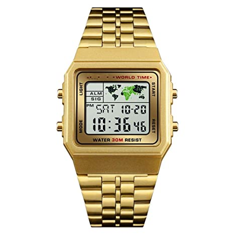 WULIFANG Macho De Electrónica Digital Watch Relojes Deportivos Cronómetro Regresivo Hombres Impermeable Reloj De Muñeca Oro
