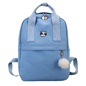 Blue Gaddrt Student School Bag Pure Color Oxford Shoulder Bag Tote Travel  Backpack Blue  Amazon.in  Bags c6832a4cc106a