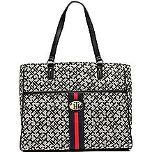 Tommy Hilfiger Logo Stripe Front Pocket Large Shopper Tote Bag Handbag Purse